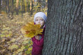 Girl with leaves behind tree in park little holding autumnal Stock Photos