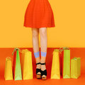 Girl legs colorful Royalty Free Stock Photo