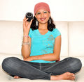 Girl with lens Royalty Free Stock Photography