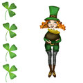 Girl leprechaun st patrick with pot of gold cute little Royalty Free Stock Photography