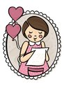 Girl with a letter and heart shaped balloons