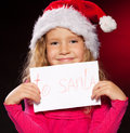 Girl with letter to Santa Claus Stock Photos