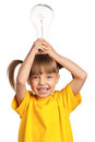 Girl with light bulb Stock Images