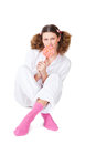 Girl in a light pajamas Stock Images