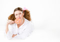 Girl in a light pajamas Royalty Free Stock Photography