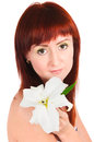 The girl with a lily flower on white background Stock Images
