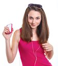 Girl listen music teenage isolated white background Stock Photos
