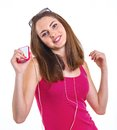 Girl listen music teenage isolated white background Stock Image
