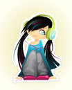 Girl listen to music vector illustration of a Stock Images