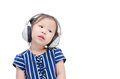 Girl listening music by headphone Royalty Free Stock Photo