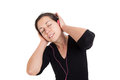 Girl listening a music in headphones isolated Royalty Free Stock Photos