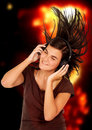 Girl listening to music Stock Photo