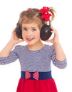 Girl listening to music beautiful cute happy blond with headphones grooving having fun isolated Stock Images