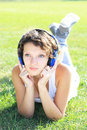 Girl listens to music Stock Photo