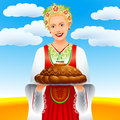 Girl loaf field the with a on a wheaten eps Stock Image