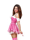 Lízatko v jej ruka ružový šaty