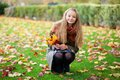 Girl with long hair gathering leaves autumn Stock Photos