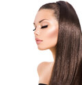 Girl with long healthy brown hair beauty fashion model Stock Photo