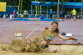 Girl long jump in competition chelyabinsk russia june competes the on championship of chelyabinsk region athletics Stock Photography