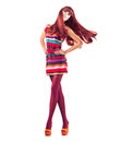 Girl with long red hair full length portrait of sexy model Stock Photography