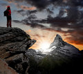 Girl looking at the beautiful Mount Matterhorn Stock Photography