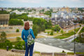 Tourist looking at panorama of Vilnius Old Town, Lithuania Royalty Free Stock Photo