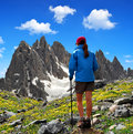 Girl looking at the cadini di misurina dolomite alps italy Royalty Free Stock Photos