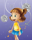 A girl looking at the disco balls illustration of Royalty Free Stock Photo