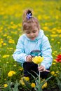 Girl is looking through a magnifying glass flower Stock Photos
