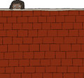 Girl looking over wall cute female child brick Stock Photos