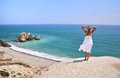 Girl looking to the sea cyprus near aphrodite birthplace Stock Photography