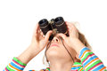 Girl looking up small binocular isolated white background Stock Photo