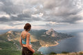 Girl looks at majestic landscape shot in crimea ukraine Royalty Free Stock Photography