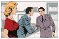 Girl looks at Two business man shaking hands. Stock illustration