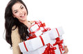 Girl with a lot of gift box Stock Photos