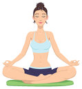 Girl in lotus position beautiful woman Stock Photos