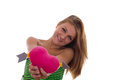 Girl in love holding heart pretty Royalty Free Stock Photography