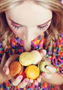 Girl Loves Colorful Macaroons Royalty Free Stock Image
