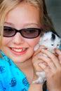 Girl Loves Kitty Royalty Free Stock Photo