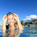 Girl in luxury resort swimming pool Royalty Free Stock Image