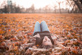 Girl lying on the autumn leaves in to the sun fashionable Royalty Free Stock Photography