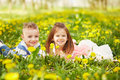 Girl lying with the boy Royalty Free Stock Photo