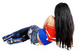 Girl lying on floor a young hispanic woman with long black hair the from the back isolated for white background Stock Image