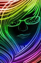 Girl made up of glowing lines Royalty Free Stock Photo