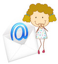 A girl with mail envelop illustration of on white Stock Image
