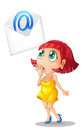 A girl with mail envelop illustration of on white Royalty Free Stock Images