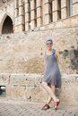 Girl in majorca front of palma de mallorca cathedral Royalty Free Stock Images
