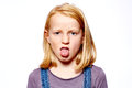Girl make grimaces with red hair Royalty Free Stock Photos