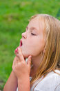 Girl makes faces imitate witch cute beautiful Stock Images