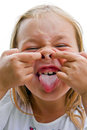Girl makes faces imitate witch cute beautiful Stock Image